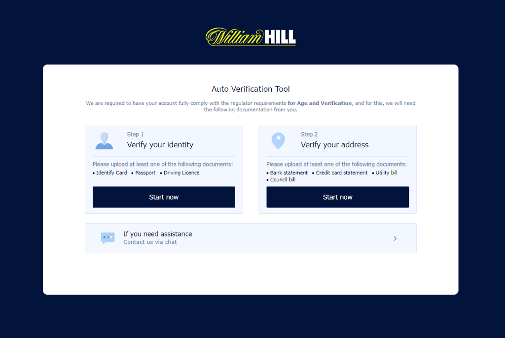 William Hill sign up screen asking you to verify your identity via an identity card, passport or drivers license and your address via a bank statement, credit card statement, utility or council bill.