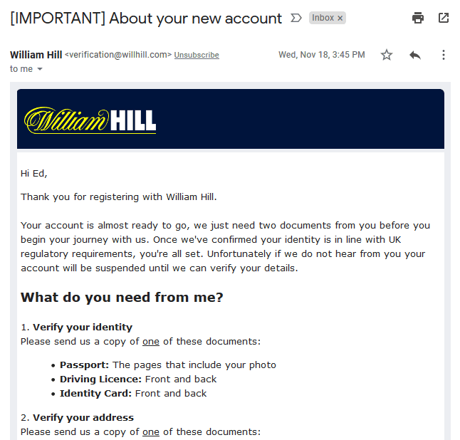 William Hill account verification email asking you to verify your identity and address by sending in documents.