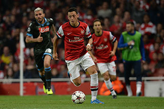 Mesut Ozil during the UEFA Champions League match between Arsenal and Napoli