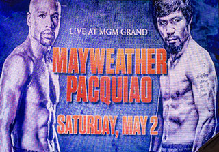 A sign at the MGM Grand advertises the Floyd Mayweather and Manny Pacquiao fight