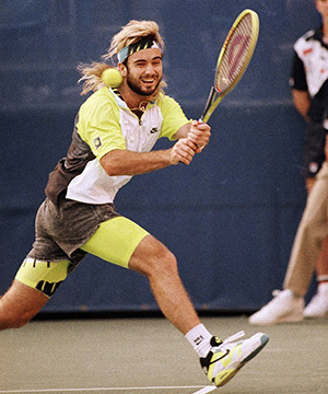 Andre Agassi in 1990 US Open match against Grant Connell