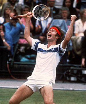 John McEnroe celebrates his victory over Bjorn Borg in Wimbledon 1981